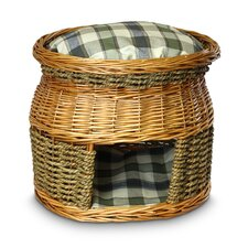 Wicker Double Decker Colonial Plaid Cat Basket and Bed