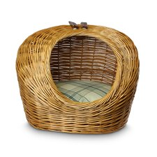 Wicker Sage Plaid Cat Basket and Bed