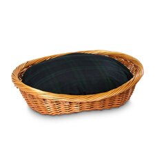 Wicker Blackwatch Plaid Dog Basket and Bed