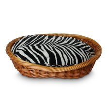 Luxury Wicker Zebra Micro Dog Basket and Bed