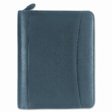 "Nappa Leather Ring Bound Organizer with Zipper, 5.5"" Wide"