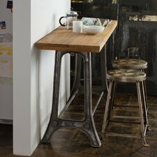 Teak and Metal 3 Piece Pub Table Set