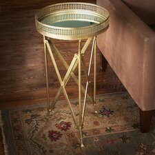 Iron and Glass Accordion End Table