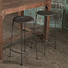 Iron Bar Stool in Zinc (Set of 2)