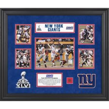 NFL New York Giants Super Bowl XLVI Champions Framed 5-Photo Collage with Game-Used Footbal