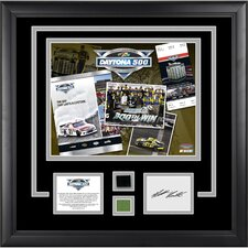 NASCAR 2012 Daytona 500 Champion Framed 11x14 Photo with Autographed Card, Race-Used Tire and Green Flag