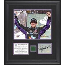 NASCAR Denny Hamlin 2012 Subway Fresh Fit 500 Winner Framed 8x10 Photo with Auto Card and Race-Used Flag