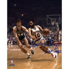 "Walt Frazier New York Knicks Autographed vs Boston Celtics Photograph with ""HOF 1987"" Inscription"