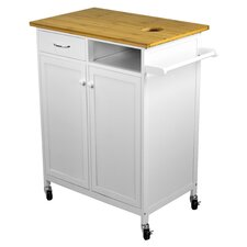Nordic Sunrise Kitchen Cart with Butcher Block Top