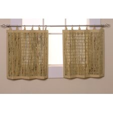 <strong>Versailles Home Fashions</strong> Wheat Bamboo Ring Top Cotton Tiers