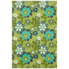 Scattered Green Flowers Area Rug