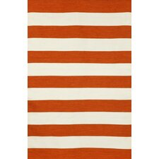 Sorrento Rugby Stripe Paprika Orange/Ivory Indoor/Outdoor Area Rug