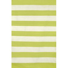Sorrento Rugby Stripe Lime Indoor/Outdoor Area Rug