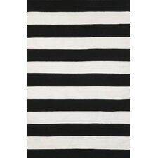 Sorrento Rugby Stripe Black & Ivory Indoor/Outdoor Area Rug