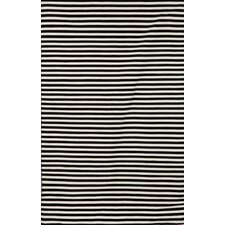 Sorrento Mini Stripe Black Indoor/Outdoor Rug