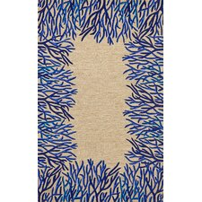 Spello Cobalt Coral Border Blue/Beige Outdoor Area Rug