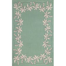 Terrace Aqua Palmtree Border Indoor/Outdoor Rug