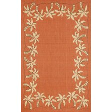 Terrace Terracotta Palmtree Border Indoor/Outdoor Area Rug