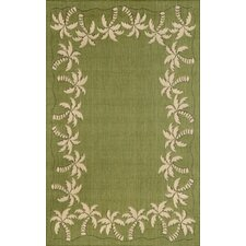 Terrace Green Palmtree Border Indoor/Outdoor Area Rug
