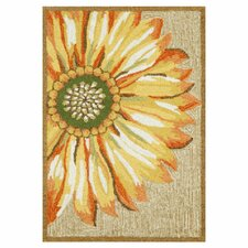 Frontporch Gold/Yellow Sunflower Indoor/Outdoor Area Rug