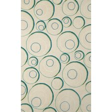 Spello Hoops Aqua/Ivory Outdoor Area Rug
