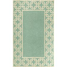 Spello Chain Border Aqua Outdoor Area Rug