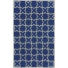 Capri Navy Moroccan Tile Outdoor Rug