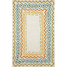 Capri Ethnic Pastel Border Outdoor Area Rug