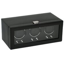 <strong>Wolf Designs</strong> Heritage Module 2.1 Triple Watch Winder with Cover in Black