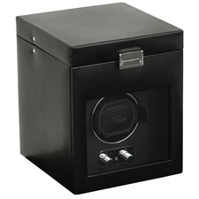 Heritage Module 2.1 Single Watch Winder with Cover and Watch Storage in Black