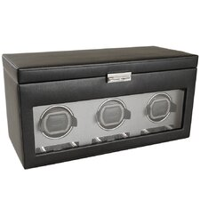Viceroy Module 2.7 Triple Watch Winder with Cover and Storage in Black
