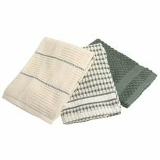 Bardwil Popcorn kitchen Towel in Moss (Set of 3)