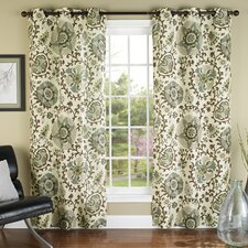 Medallions Poly Duck Cloth Grommet Curtain Panel (Set of 2)