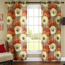 Poppies Poly Duck Cloth Grommet Curtain Panel (Set of 2)