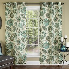 Tessa Poly Linen Textured Cloth Grommet Curtain Panel (Set of 2)