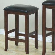"24"" Barstool with Leather Cushion Seat in Dark Oak (Set of 2)"