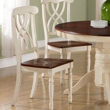 Dining Side Chair in Distressed Antique White and Walnut (Set of 2)