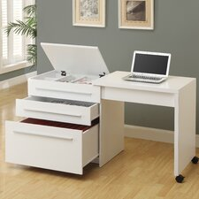Computer Writing Desk with Medium Storage Drawers