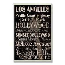 Home Décor Los Angeles Cities and Words Rectangle Textual Art Plaque