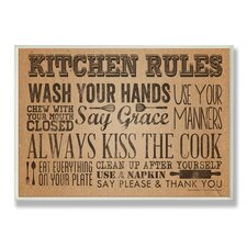 Home Décor Kitchen Rules with Paper Towel Roll Look Textual Art Plaque