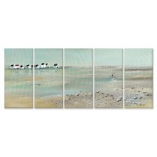 Home Décor A Stroll Down on the Beach Triptych 5 Piece Painting Print Set