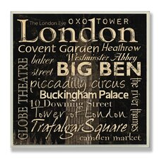 Home Décor London Landmark Square Textual Art Plaque