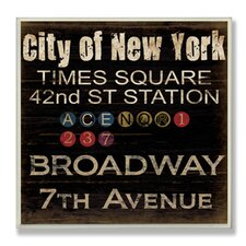Home Décor City of New York Landmark Square Textual Art Plaque