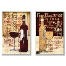 Home Décor Wine Typography Kitchen Duo 2 Piece Graphic Art Plaque
