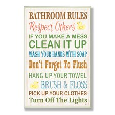 Home Décor Bathroom Rules Typography Rubber Ducky Bath Textual Art Plaque