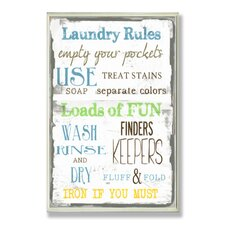 Home Décor Laundry Room Typography Rectangle Wall Plaque