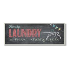 Home Décor Family Laundry Never Ending Chalkboard Look Bath Graphic Art Plaque