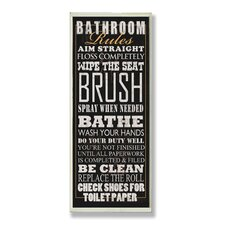 Home Décor Bathroom Rules Typography Tall Rectangle Wall Plaque in Black