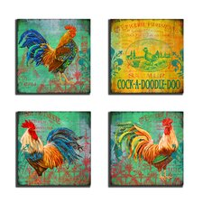 Home Décor 4 Piece Parisian Rooster Wall Art Set