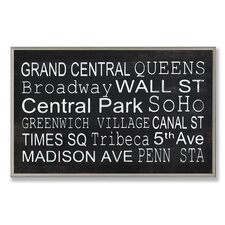 Home Décor NYC Train Station Stop Textual Art Plaque